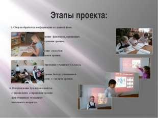 Этапы проекта: 1. Сбор и обработка информации по данной теме. 2. Выявление фа