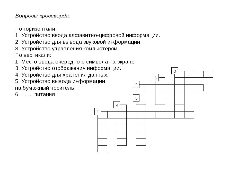 Вопросы кроссворда: По горизонтали: 1. Устройство ввода алфавитно-цифровой ин...