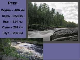 Реки Водла – 406 км Кемь – 358 км Выг – 314 км Суна – 282 км Шуя – 265 км