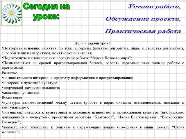 Цели и задачи урока Повторить основные понятия по теме алгоритм (понятие алго...