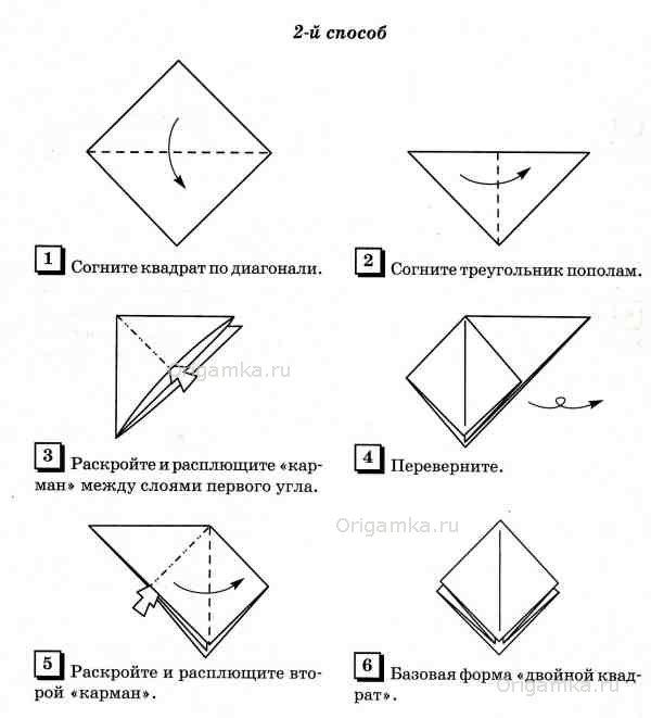 Поделки оригами базовая форма квадрат