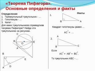 «Теорема Пифагора». Основные определения и факты Определения Прямоугольный тр