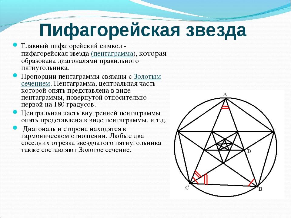Пифагорейская звезда Главный пифагорейский символ - пифагорейская звезда (пен...