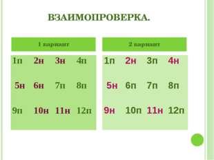 ВЗАИМОПРОВЕРКА. 1 вариант 2 вариант 1п2н3н4п 5н6н7п8п 9п10н11н12п 1п