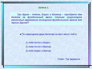 Три друга – Антон, Борис и Виктор – приобрели два билета на футбольный матч.