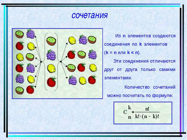 сочетания Из n элементов создаются соединения по k элементов (k = n или k < n...