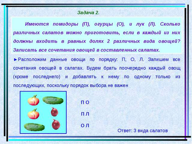 Имеются помидоры (П), огурцы (О), и лук (Л). Сколько различных салатов можно...