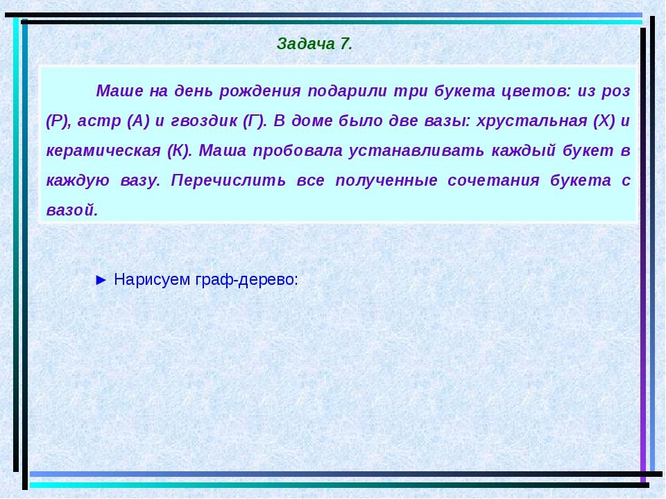 ► Нарисуем граф-дерево: Задача 7. Маше на день рождения подарили три букета ц...