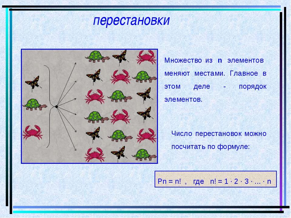 перестановки Рn = n! ,  где  n! = 1 · 2 · 3 · ... · n Множество из n эле...