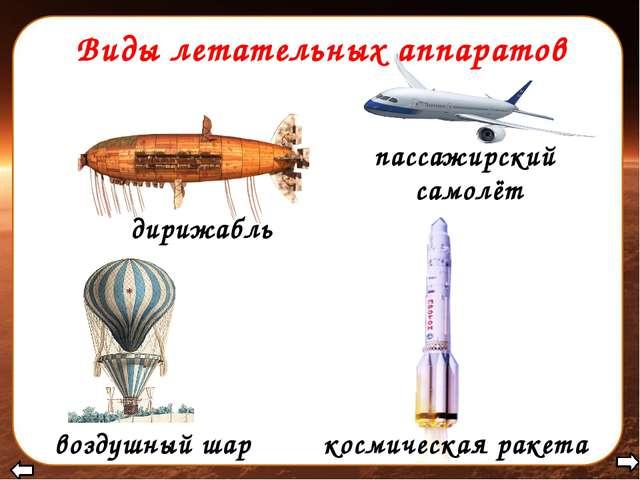 Виды летательных аппаратов воздушный шар дирижабль пассажирский самолёт косми...