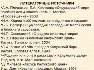 ЛИТЕРАТУРНЫЕ ИСТОЧНИКИ А.А. Плешаков, Е.А. Крючкова «Окружающий мир» Учебник