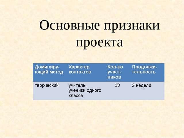 Основные признаки проекта Доминиру-ющийметод Характер контактов Кол-воучаст-н...