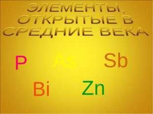 P As Sb Zn Bi