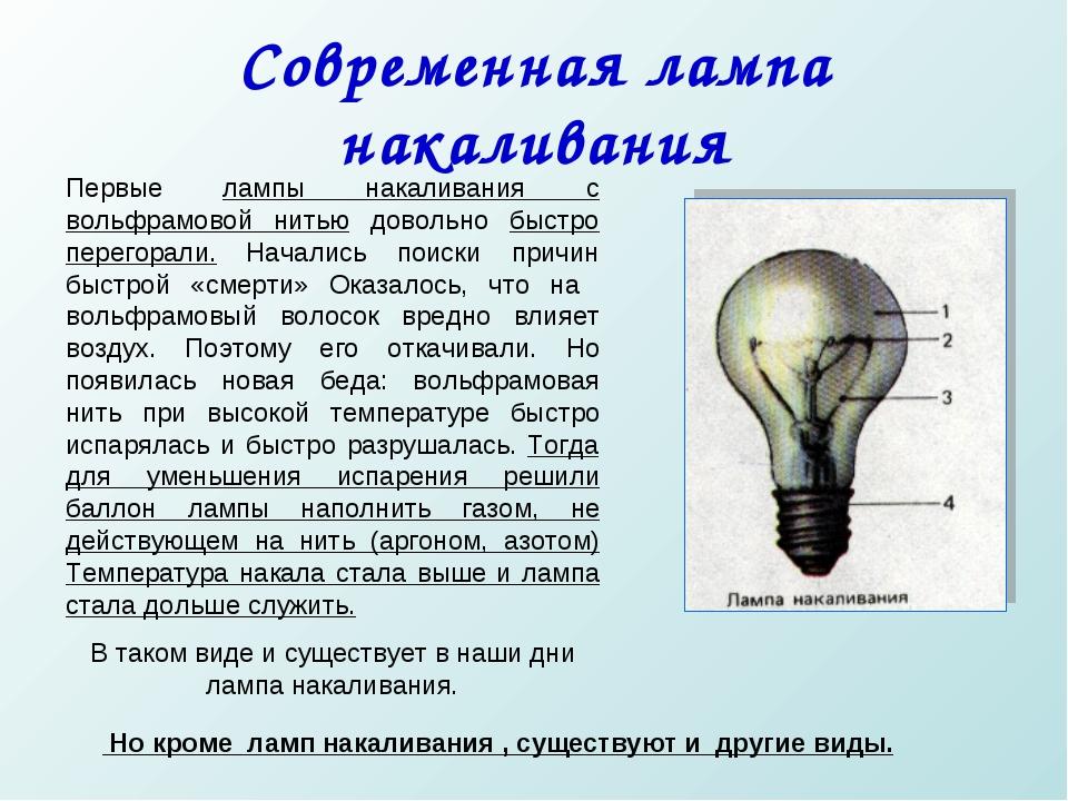 Современная лампа накаливания Первые лампы накаливания с вольфрамовой нитью д...