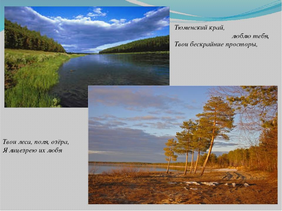 Тюменский край, люблю тебя, Твои бескрайние просторы, Твои леса, поля, озёра,...