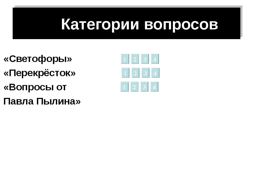 Категории вопросов «Светофоры» «Перекрёсток» «Вопросы от Павла Пылина» 1 2 3...