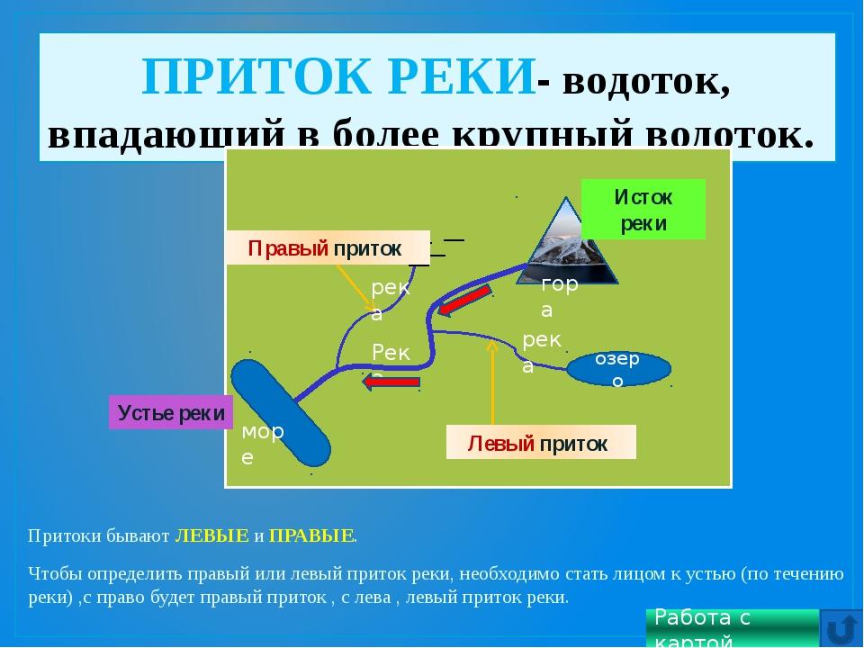 Притоки бывают ЛЕВЫЕ и ПРАВЫЕ. Чтобы определить правый или левый приток реки...