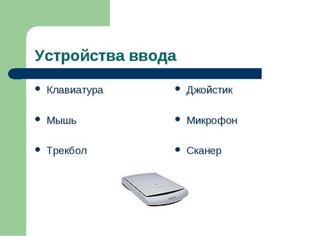 Устройства ввода Клавиатура Мышь Трекбол Джойстик Микрофон Сканер