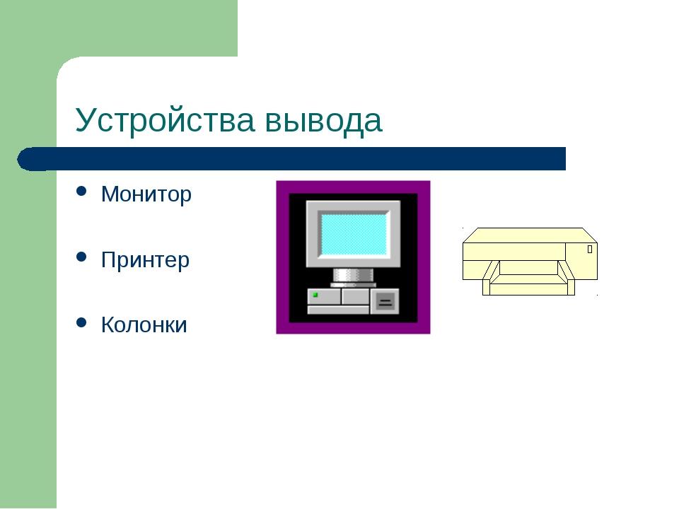 Устройства вывода Монитор Принтер Колонки