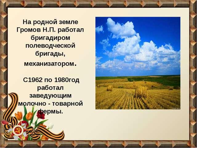На родной земле Громов Н.П. работал бригадиром полеводческой бригады, механиз...