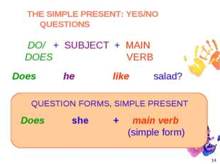 * Does she + main verb 						 (simple form) 						 Does he like salad?