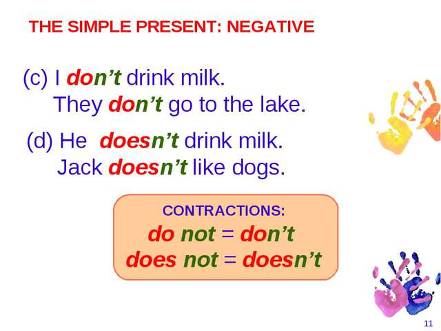 * (d) He doesn't drink milk. Jack doesn't like dogs. (c) I don't drink milk....