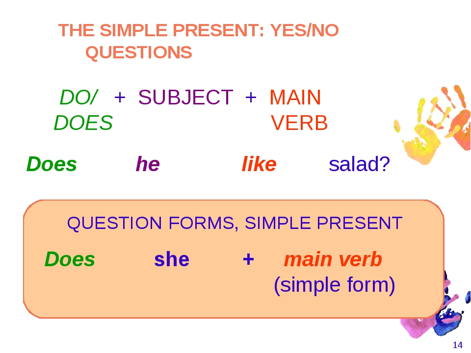 * Does she + main verb 						 (simple form) 						 Does he like salad?...