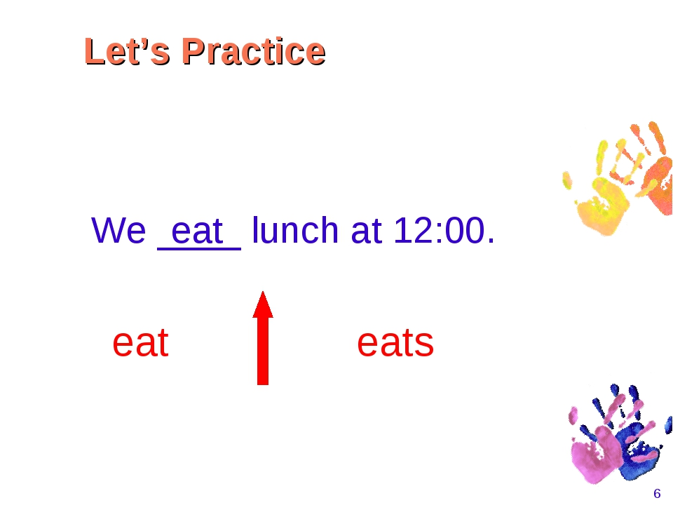 * We ____ lunch at 12:00. eat eats eat Let's Practice