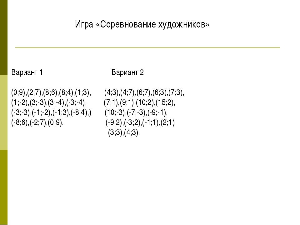 Вариант 1 Вариант 2 (0;9),(2;7),(8;6),(8;4),(1;3), (4;3),(4;7),(6;7),(6;3),(7...