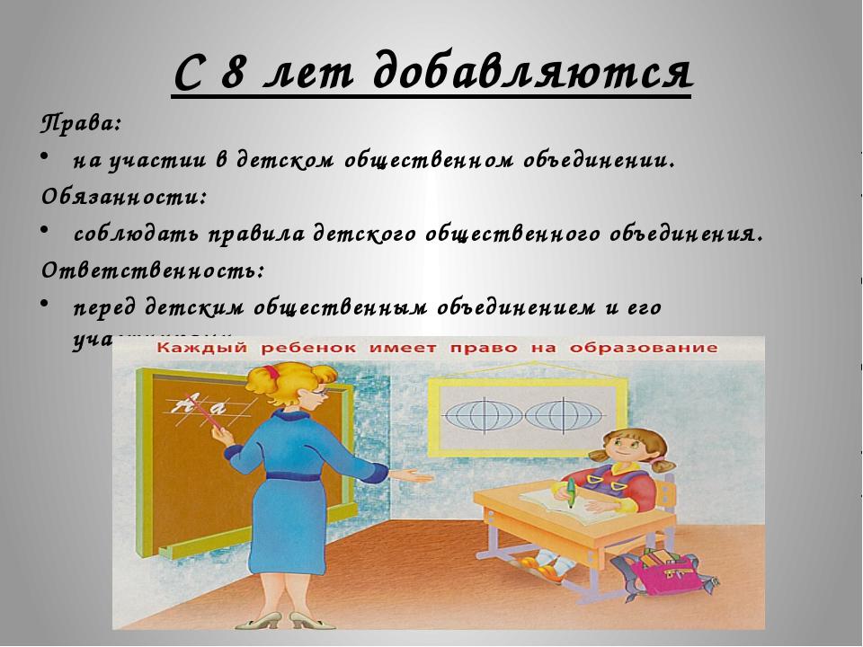 С 8 лет добавляются Права: на участии в детском общественном объединении. Обя...