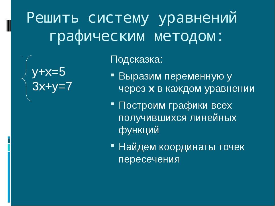 Решить систему уравнений графическим методом: Подсказка: Выразим переменную у...
