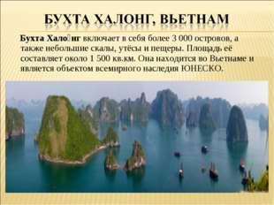 Бухта Хало́нг включает в себя более 3 000 островов, а также небольшие скалы,