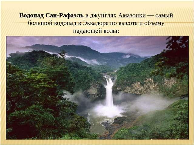 Водопад Сан-Рафаэль в джунглях Амазонки — самый большой водопад в Эквадоре по...