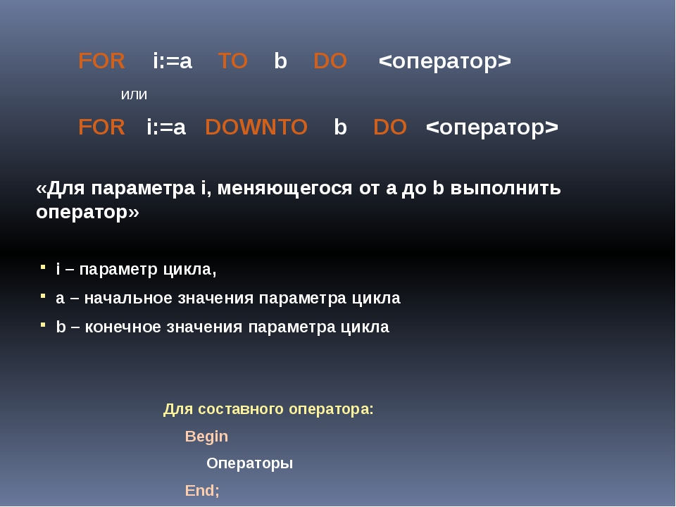 FOR    i:=a    TO    b    DO     <оператор>
