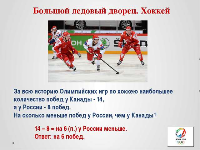 Большой ледовый дворец. Хоккей За всю историю Олимпийских игр по хоккею наибо...