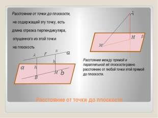 Расстояние от точки до плоскости Расстояние от точки до плоскости, не содержа