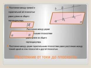Расстояние от токи до плоскости Расстояние между прямой и параллельной ей пло