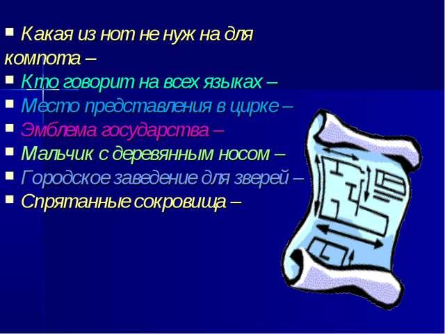 Какая из нот не нужна для компота – Кто говорит на всех языках – Место предст...