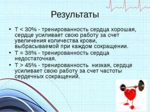 Результаты Т < 30% - тренированность сердца хорошая, сердце усиливает свою ра
