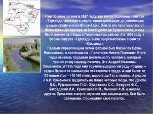 Наш поселок возник в 1927 году, как пятое отделение совхоза «Турксад», зан