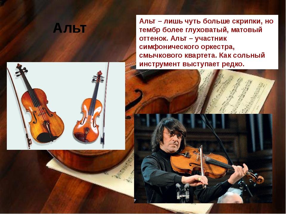 Альт Альт – лишь чуть больше скрипки, но тембр более глуховатый, матовый отт...
