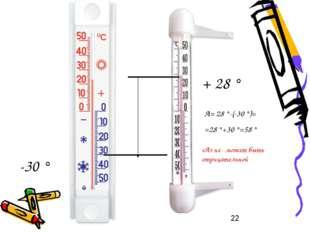 -30 ° + 28 ° А= 28 °-(-30 °)= =28 °+30 °=58 ° «А» не может быть отрицательной