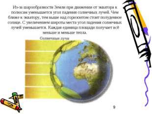 Из-за шарообразности Земли при движении от экватора к полюсам уменьшается уго