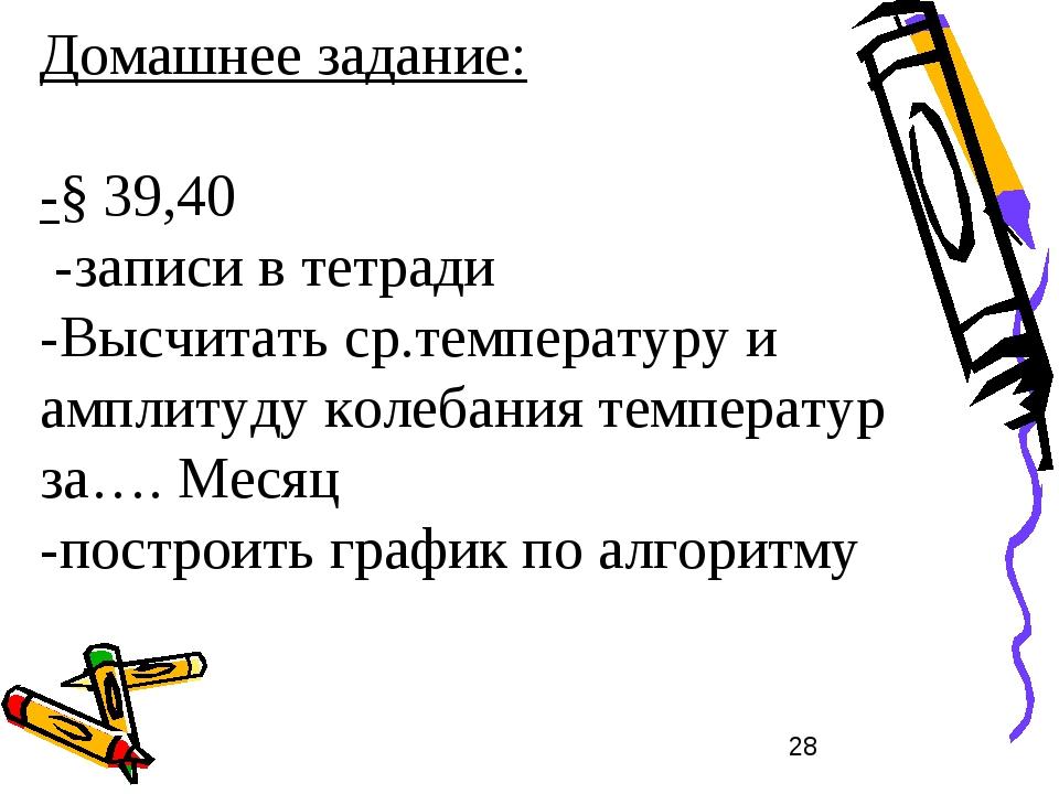Домашнее задание: -§ 39,40 -записи в тетради -Высчитать ср.температуру и ампл...