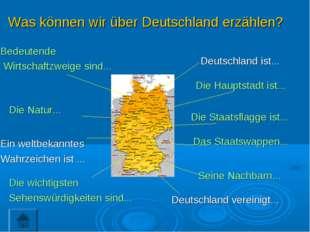 Deutschland ist... Die Hauptstadt ist... Die Staatsflagge ist... Das Staatswa