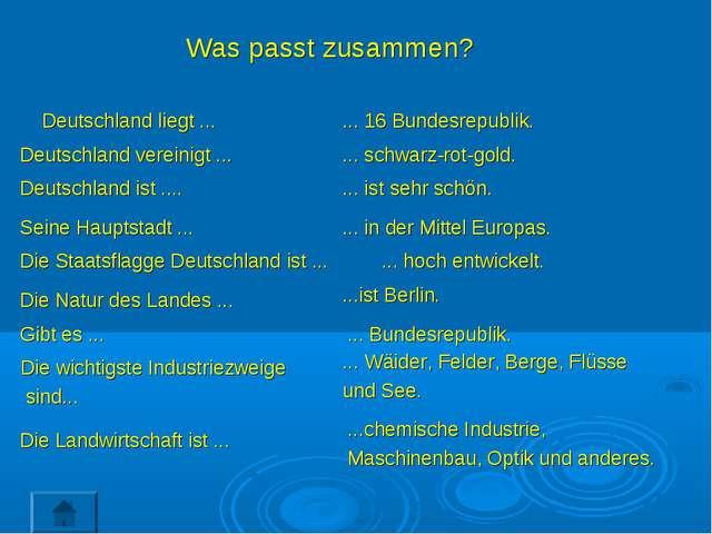 Was passt zusammen? Deutschland liegt ... Deutschland vereinigt ... ... 16 Bu...