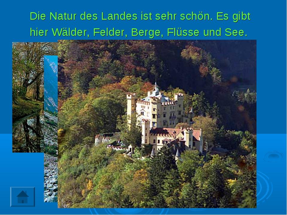 Die Natur des Landes ist sehr schön. Es gibt hier Wälder, Felder, Berge, Flüs...
