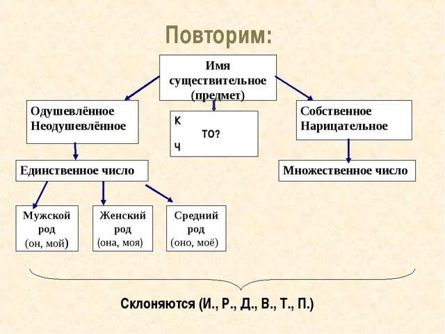 Повторим: Склоняются (И., Р., Д., В., Т., П.) Имя существительное (предмет)...
