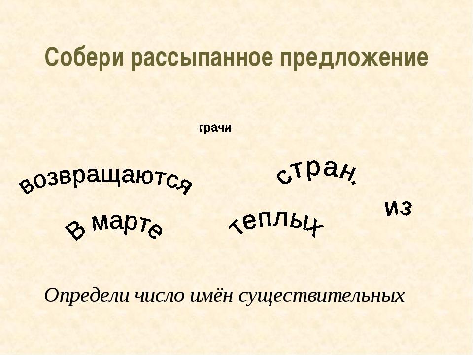 Собери рассыпанное предложение Определи число имён существительных
