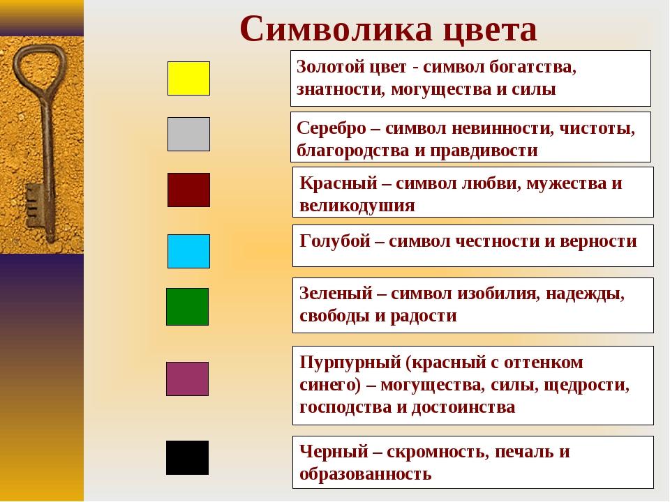 Золотой цвет - символ богатства, знатности, могущества и силы Серебро – симво...